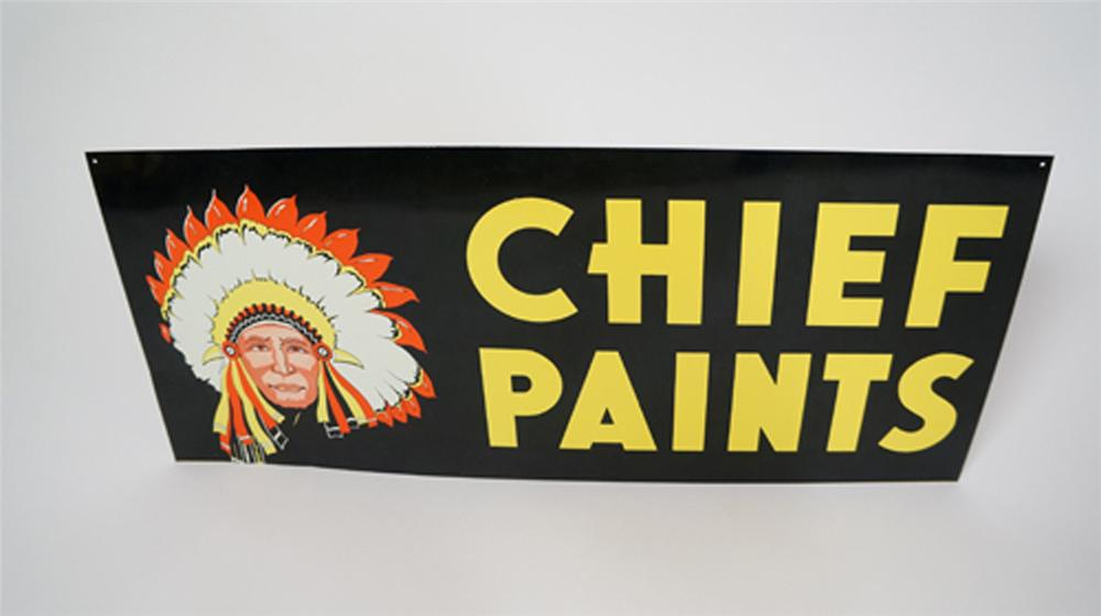 N.O.S. 1960's Chief Paints double-sided tin general store sign. - Front 3/4 - 170634