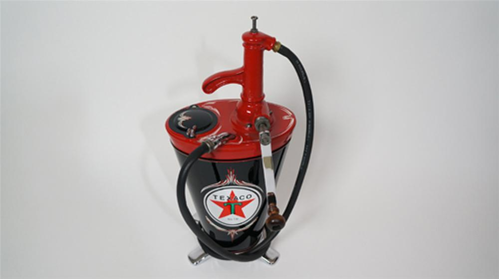 Simply immaculate 1920's-30's Texaco Oil five gallon hand pump filling station greaser. - Front 3/4 - 170636