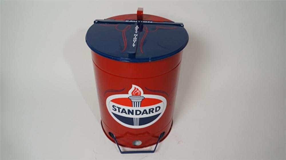 1930's-40's Standard Oil restored service department oil/shop rag container with foot lever. - Front 3/4 - 170639