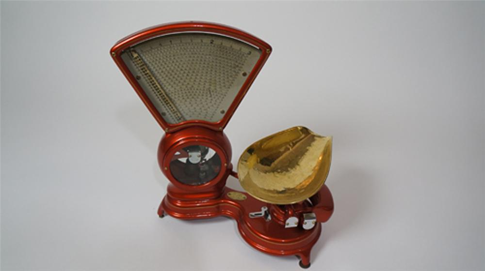 Exquisite 1907 Stimpson restored soda fountain candy scale.  Great for use or display. - Front 3/4 - 170640