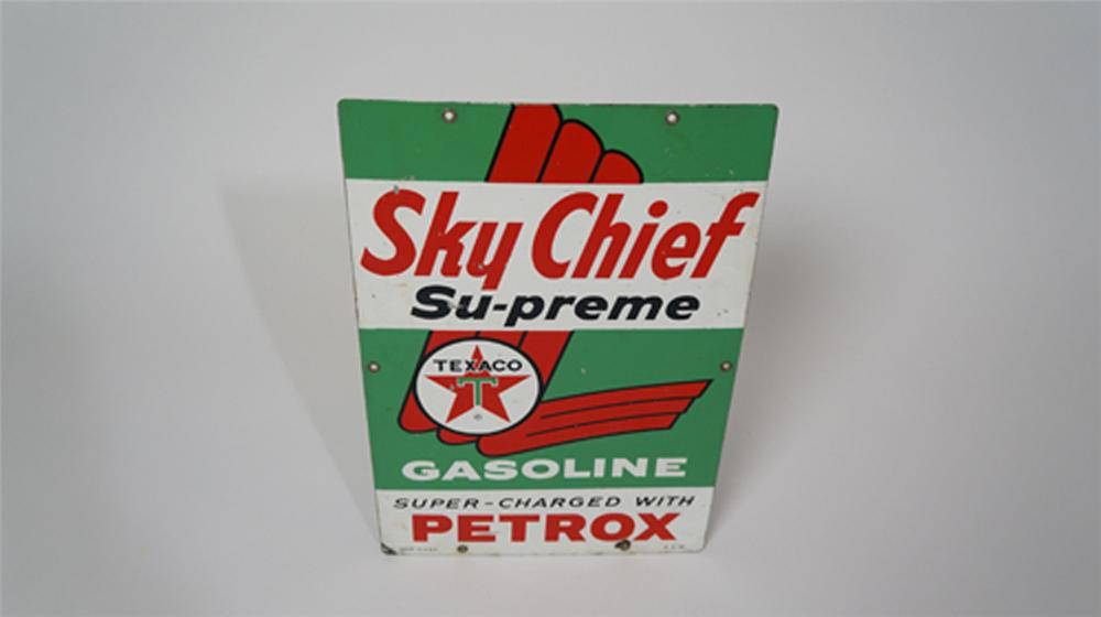 1961 Texaco Sky Chief Supreme Gasoline with Petrox porcelain pump plate sign. - Front 3/4 - 170649