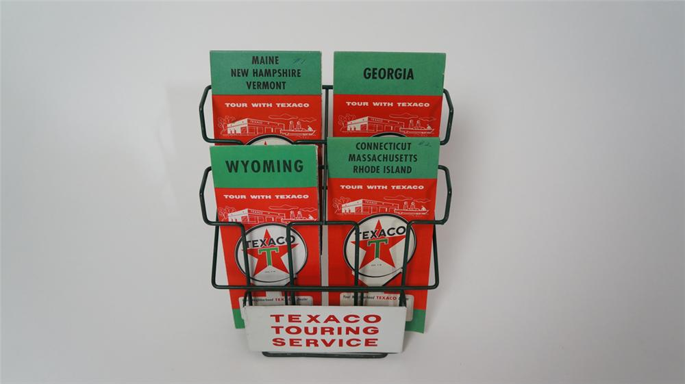 N.O.S. 1950's Texaco Oil service station counter-top metal road map display with original period maps. - Front 3/4 - 170657