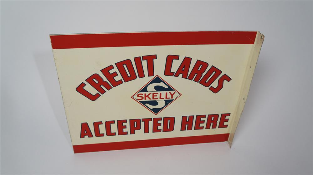Seldom seen 1940's-50's Skelly Oil Credit Cards Accepted Here double-sided tin service station flange sign. - Front 3/4 - 170658