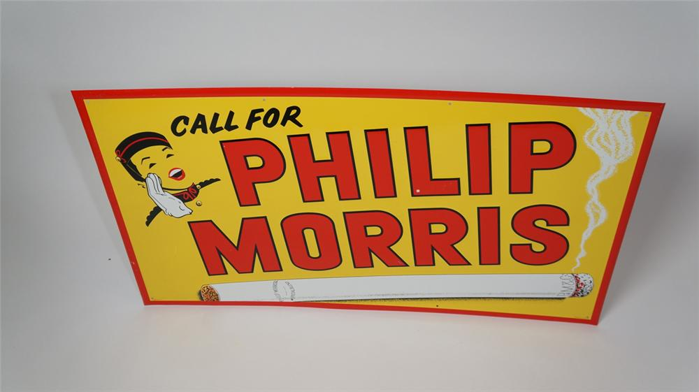 Large 1940's-50's Phillip Morris Cigarettes self-framed horizontal tin sign with Bell Boy graphic. - Front 3/4 - 170662