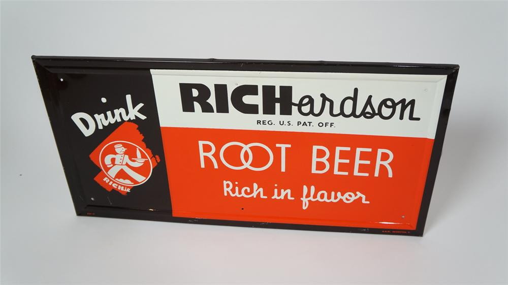 Scarce N.O.S. 1940's Richardson Root Beer self-framed tin soda sign with nice colors. - Front 3/4 - 170663