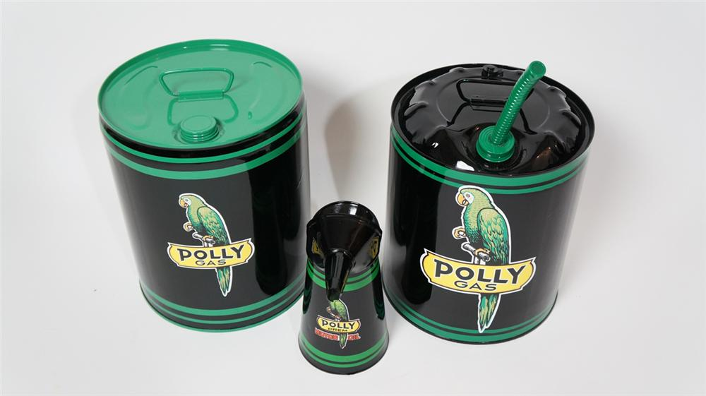 Set of three circa nicely restored 1930's-40's Polly Oil service department multi-fluid cans. - Front 3/4 - 170666