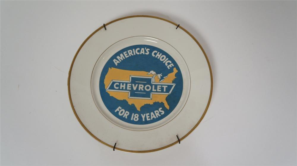 "1949 Chevrolet ""America's Choice for 18 Years"" dealer performance award china plate. - Front 3/4 - 170673"