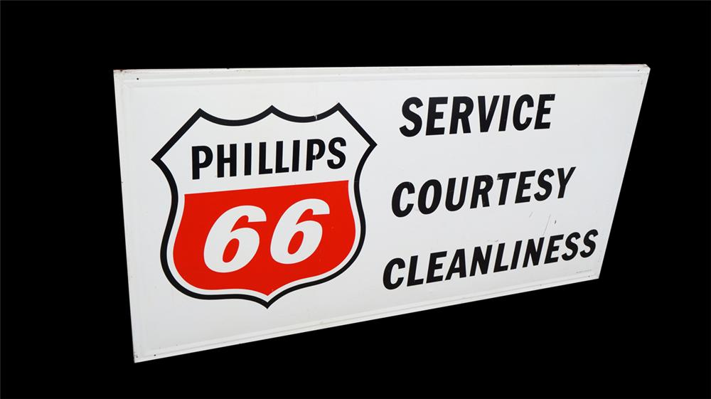 "Large 1953 Phillips 66 ""Service - Courtesy - Cleanliness"" wood framed tin sign. - Front 3/4 - 170675"