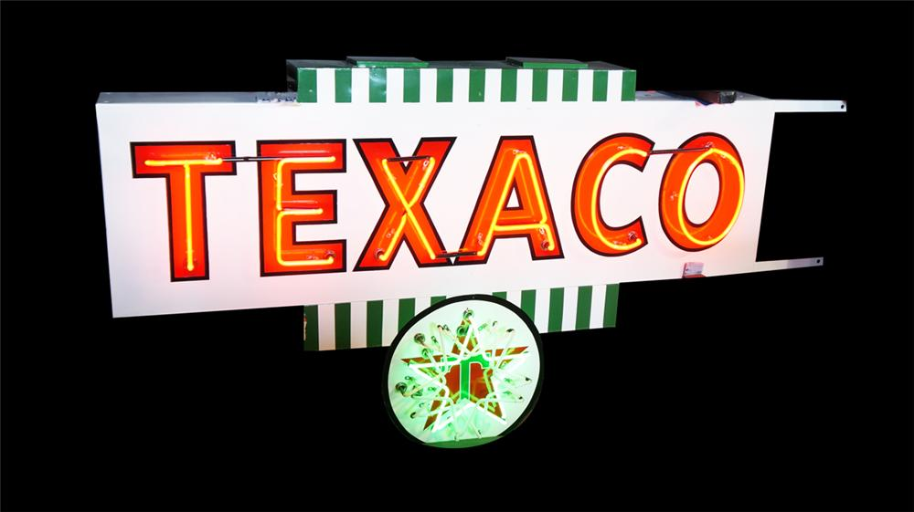 Rare professionally restored Texaco Oil service station double-sided sign with animated neon. - Front 3/4 - 170678