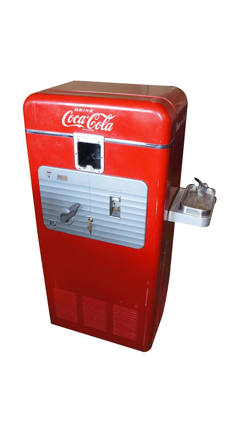 Hard to find all original 1940's Vendo 27 ten cent coin-operated soda machine with water fountain attached. - Front 3/4 - 170679
