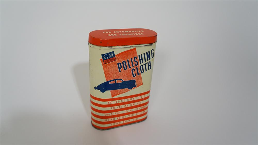 Fabulous 1950's General Motors Automotive Polishing Cloth tin with graphics. - Front 3/4 - 170682