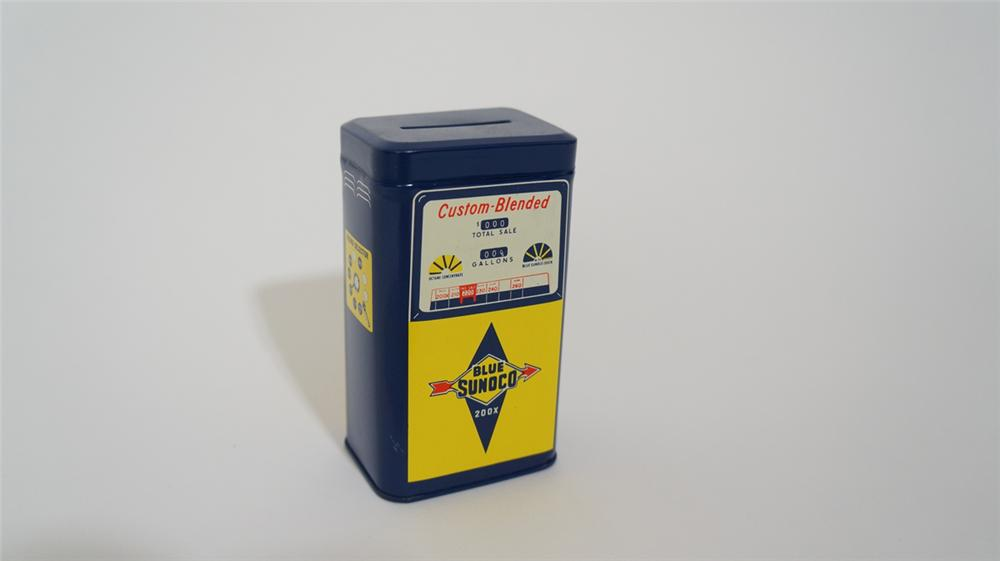 Fantastic N.O.S. 1960's Sunoco Oil dealer promotional gas pump shaped tin coin bank. - Front 3/4 - 170685