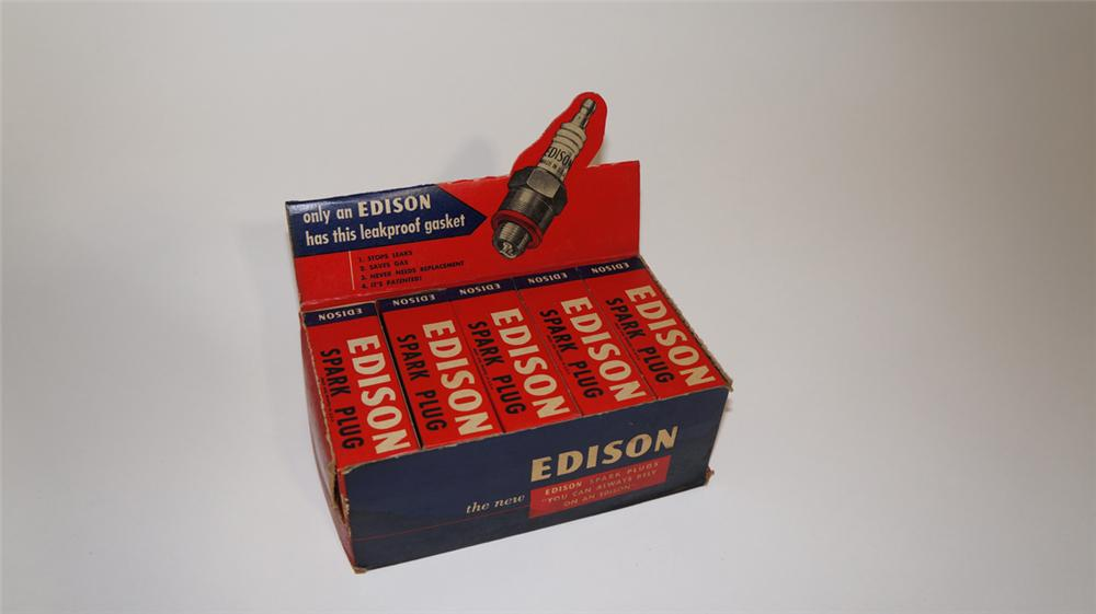 1930's-40's N.O.S. Edison Automotive Spark Plugs garage counter-top display box still full of N.O.S. spark plugs. - Front 3/4 - 170689