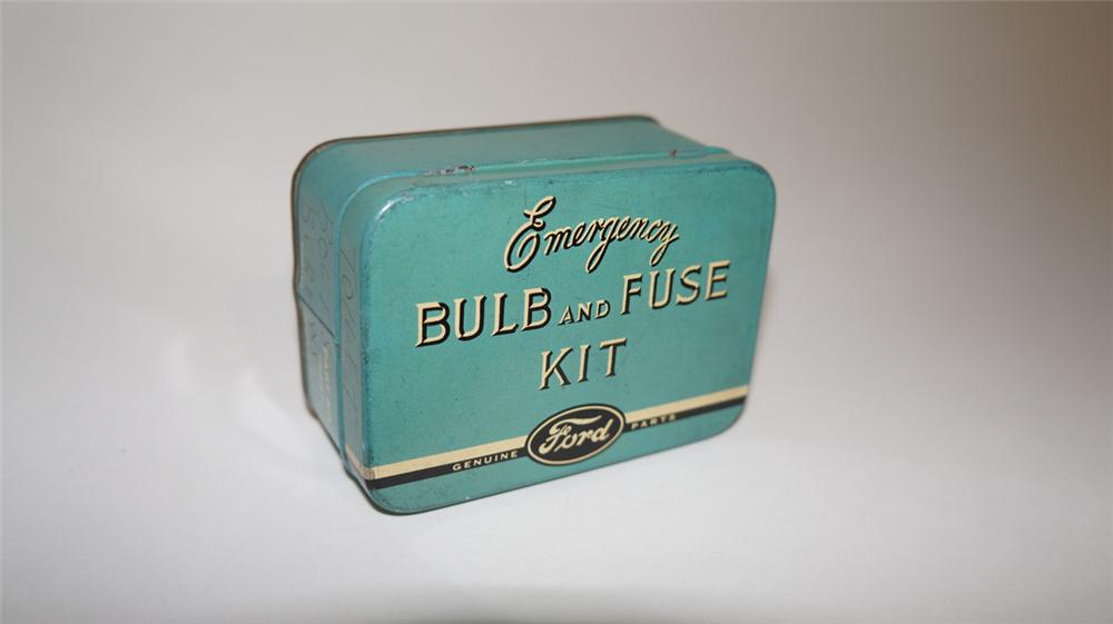 1930's Ford Automobiles Bulb and Fuse Kit tin.  Very clean! - Front 3/4 - 170694