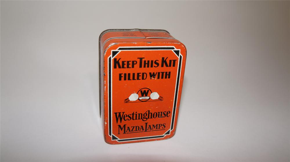 Early 1920's-30's Westinghouse Mazda Lamps automotive spare bulb tin. - Front 3/4 - 170696