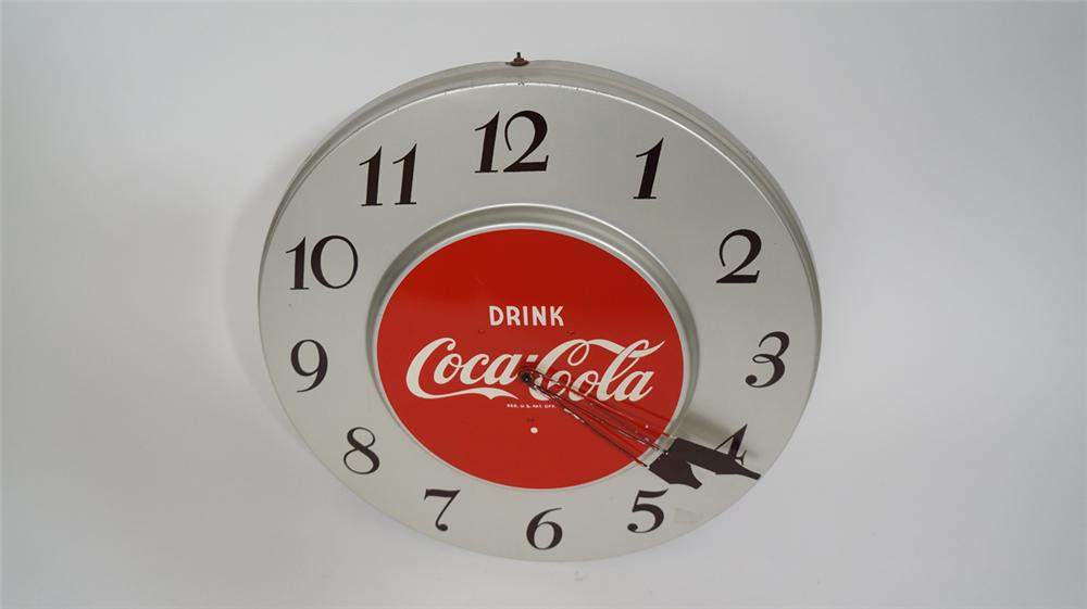 Early 1950's Drink Coca-Cola tin electric diner clock. - Front 3/4 - 170698