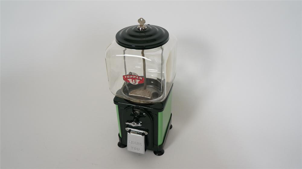 Nicely restored 1930's Topper one cent gumball machine with nice colors. Complete and working. - Front 3/4 - 170709