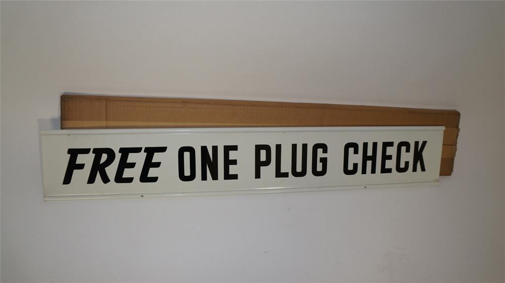"Choice N.O.S. 1950's Champion Spark Plugs ""Free One Plug Check"" double-sided tin garage sign still in the original box.  Never used! - Front 3/4 - 170711"