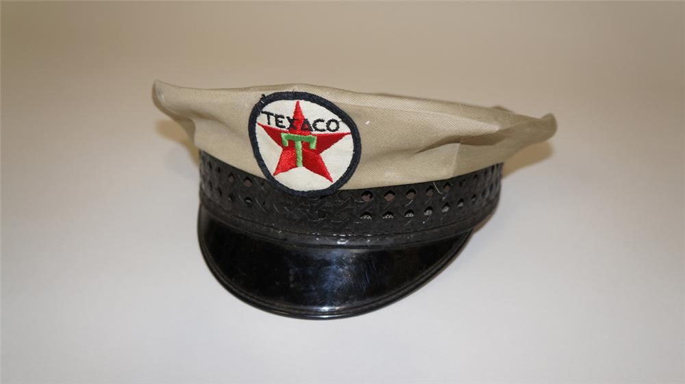 1940's-50's Texaco Oil service station attendants hat. - Front 3/4 - 170715