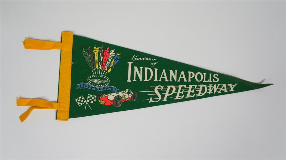 1950's Indianapolis Speedway souvenir pennant with nice graphics. - Front 3/4 - 170717