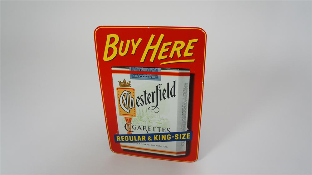 """N.O.S. 1950's Chesterfield Cigarettes """"Buy Here"""" tin sign with cigarette pack graphic. - Front 3/4 - 170721"""