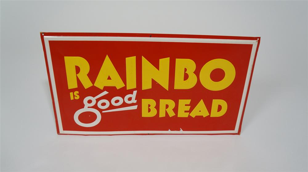 N.O.S. 1950's Rainbo Is Good Bread single-sided embossed tin sign. - Front 3/4 - 170722