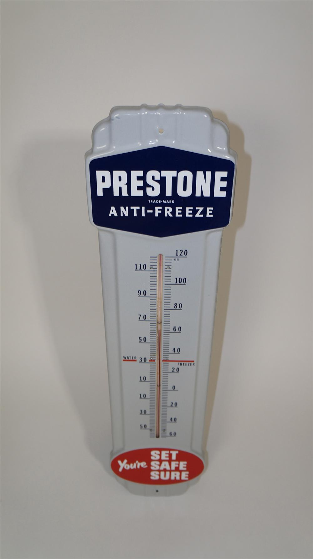 Very clean 1955 Prestone Anti-Freeze over-sized porcelain service station thermometer. - Front 3/4 - 170723