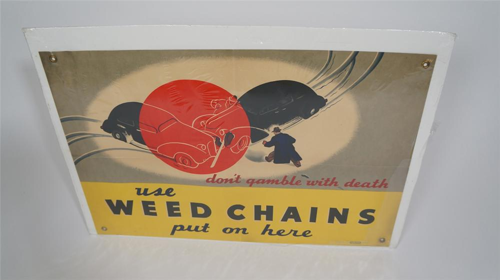 "1930's ""Use Weed Chains"" winter artwork heavy duty service station poster with grommets. - Front 3/4 - 170724"