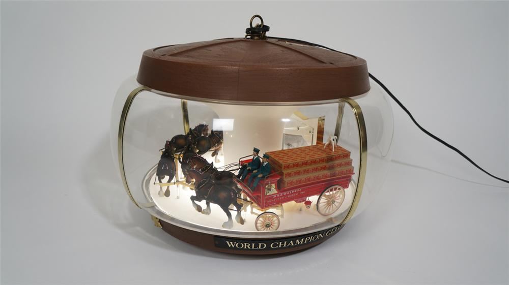 Budweiser hanging carousel tavern sign featuring a Clydesdale driven beer wagon with Dalmatians. - Front 3/4 - 170728