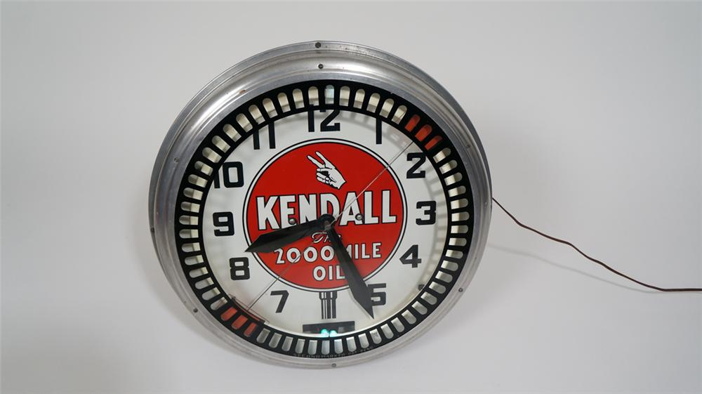 1930's Kendall Motor Oil neon service station clock with animation wheel. - Front 3/4 - 170729