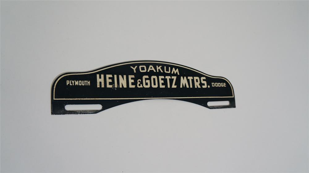 1940's Yoakum Plymouth - Dodge Motors license plate attachment sign. - Front 3/4 - 170733