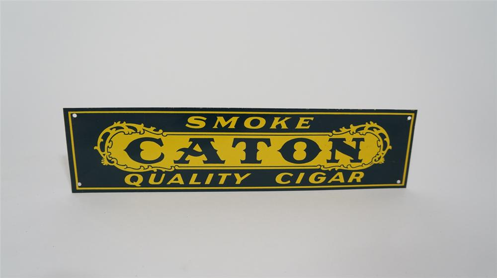 1920's Smoke Caton Quality Cigar single-sided tin sign. - Front 3/4 - 170735