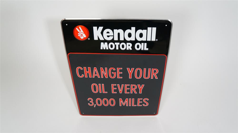 "N.O.S Kendall Motor Oil ""Change Your Oil Every 3,000 Miles"" embossed tin service station sign. - Front 3/4 - 170742"