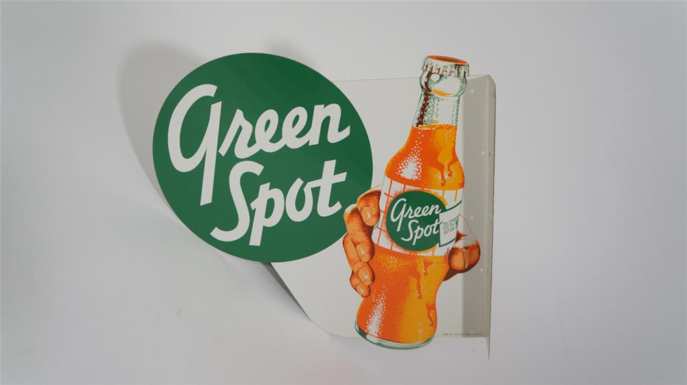 Incredible N.O.S. 1950's Green Spot Orange Soda die-cut tin flange with hand/bottle graphic. - Front 3/4 - 170746