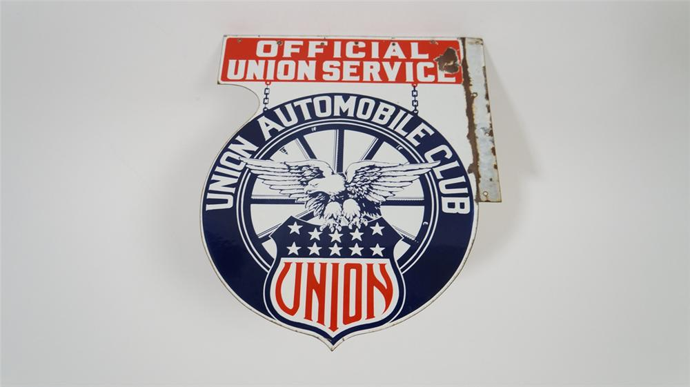 "Never before seen 1920's-30's Union Automobile Club ""Official Service Station"" double-sided porcelain sign with eagle graphic. - Front 3/4 - 170747"