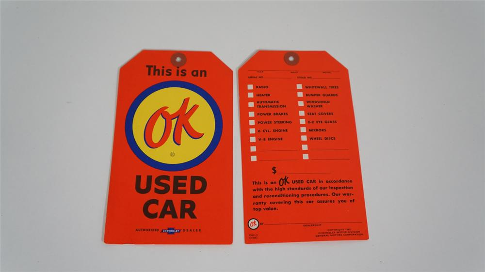 Lot of two N.O.S. 1960 Chevrolet OK Used Cars dealership sales lot sale tags with options on reverse side. - Front 3/4 - 170753