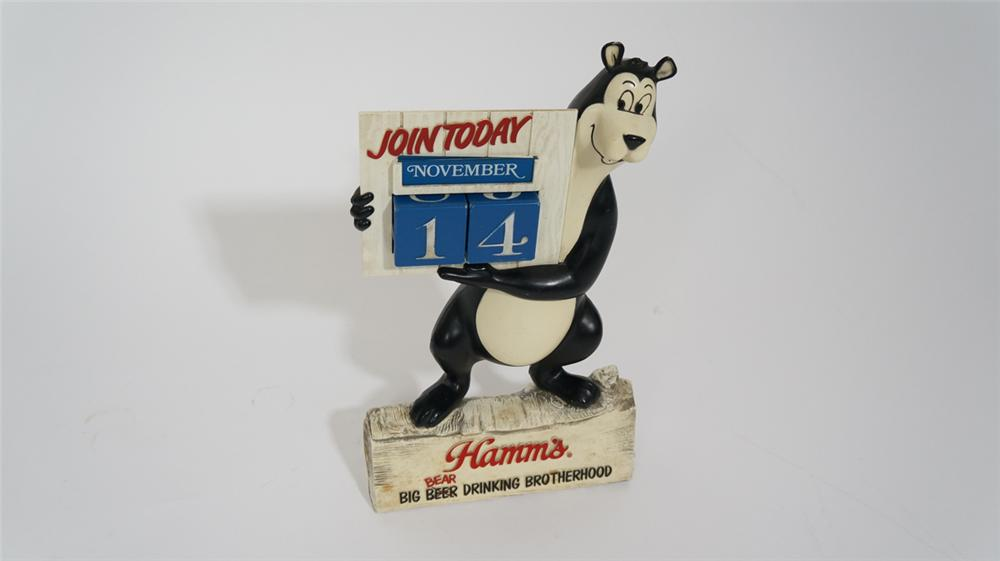 Vintage 1950's-60's Hamm's Beer three dimensional Bear bar back calendar. - Front 3/4 - 170758