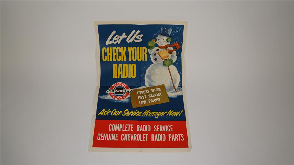 "N.O.S. 1950's Chevrolet ""Let Us Check Your Radio"" service department poster. - Front 3/4 - 170760"
