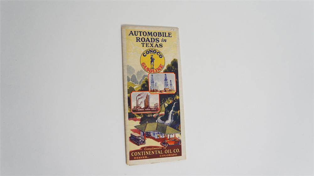 """1920's Conoco Gasoline """"Automobile Roads in Texas"""" service station map with nice graphics. - Front 3/4 - 170761"""