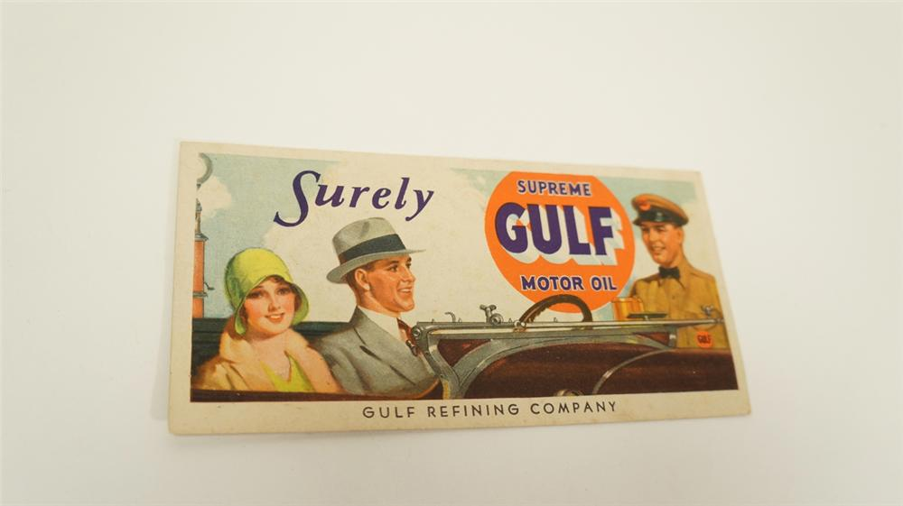Stately late 1920s Gulf Supreme Motor Oil service station ink blotter. - Front 3/4 - 170765