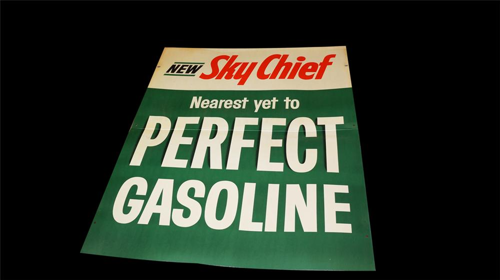 """N.O.S late 1950's-60's Texaco """"New Sky Chief Gasoline"""" single-sided cardboard out door display sign. - Front 3/4 - 170766"""