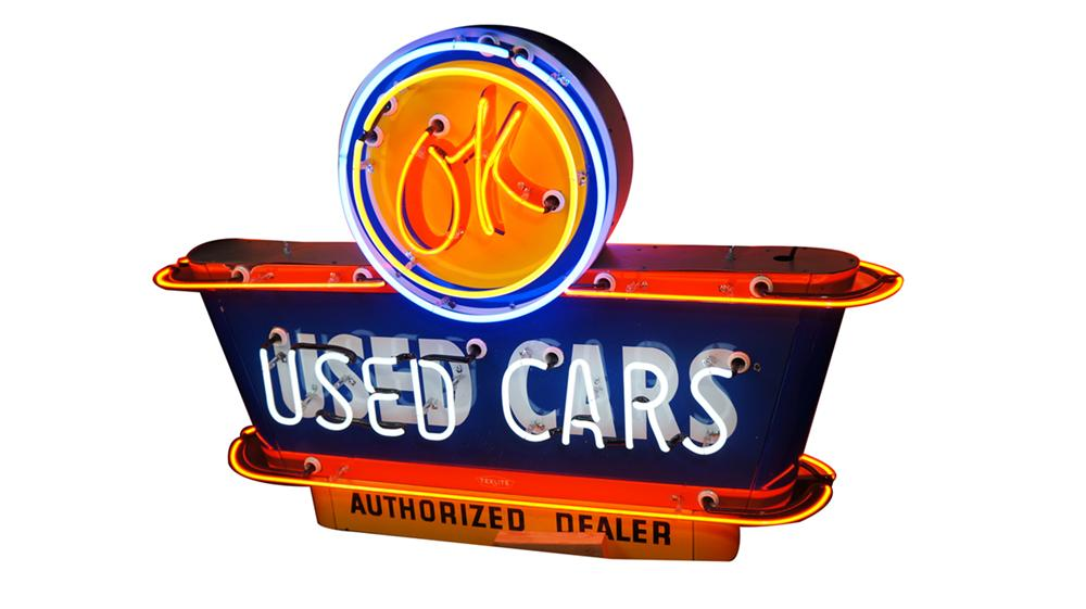 Highly sought after 1950's Chevrolet OK Used Cars double-sided porcelain neon dealership sign. Very clean and untouched! OK blinks on/off. - Front 3/4 - 170777