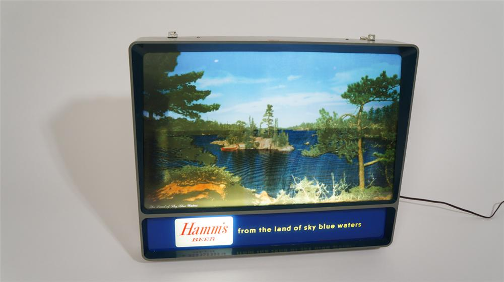 "Phenomenal 1960's Hamm's Beer ""Rippling Waters"" light-up tavern sign with animated waters. - Front 3/4 - 170780"