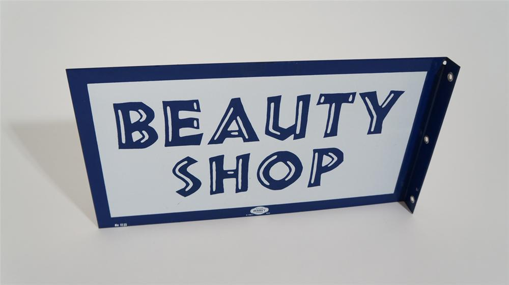 Late 1950's Beauty Shop double-sided porcelain flange sign. - Front 3/4 - 170781