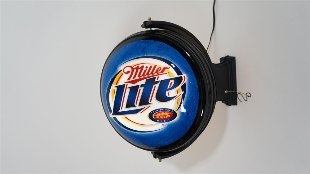 Miller Lite - Genuine Draft light-up rotating tavern sign. Found in the original box unused. - Front 3/4 - 170789