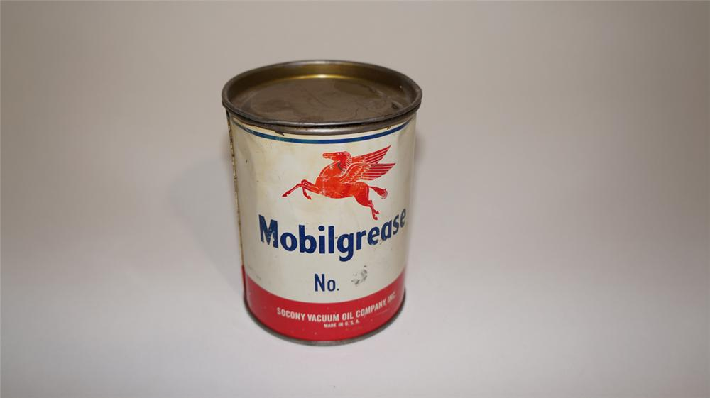 1940's Mobilgrease one pound grease tin still full with Pegasus logo. - Front 3/4 - 170790