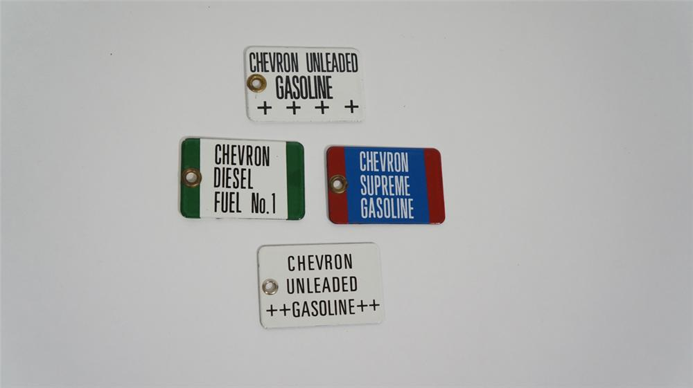 Set of four 1940's Chevron Gasoline bulk truck delivery porcelain fuel grade tags. - Front 3/4 - 170792