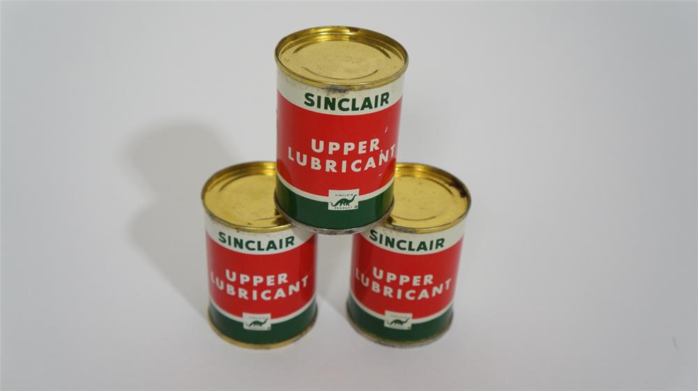 Lot of three N.O.S. 1940's-50's Sinclair Upper Lubricant tins still full and unused. - Front 3/4 - 170793