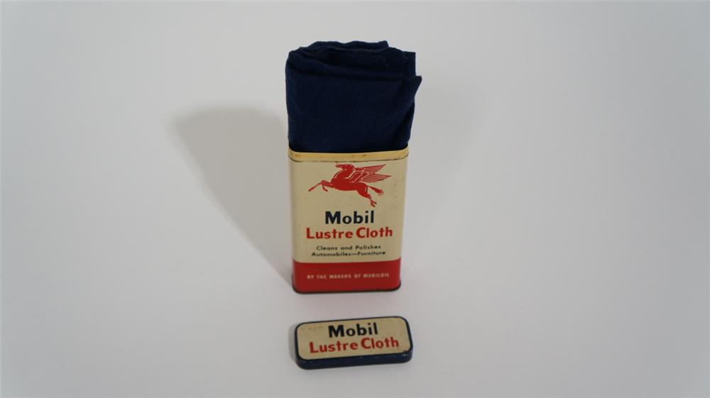 1950's Mobil Automotive Lustre Cloth tin complete with original cloth within. - Front 3/4 - 170795
