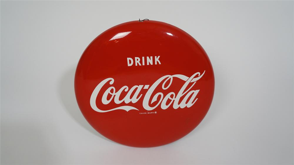 """N.O.S. 1950's Drink Coca-Cola 12"""" die-cut tin button sign. Diameter - Front 3/4 - 170800"""